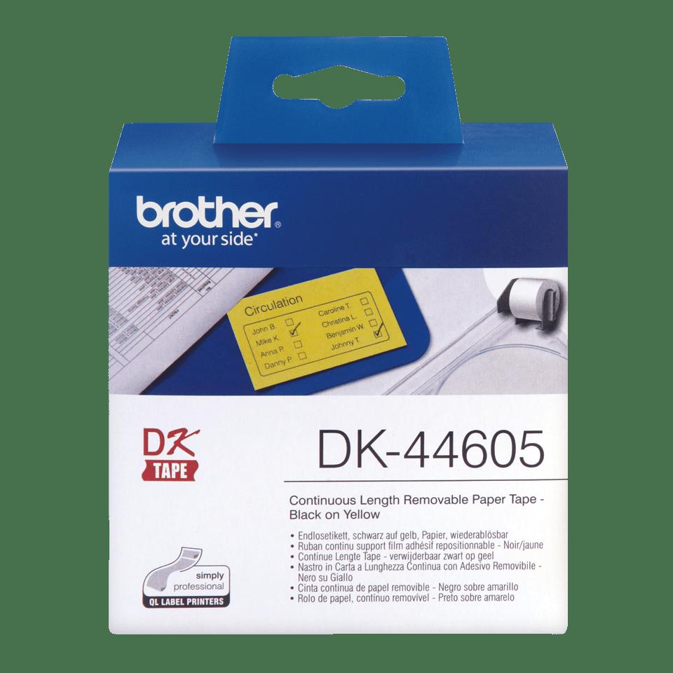 Oryginalne etykiety DK-44605 z taśmy ciągłej z usuwalnym klejem – czarny nadruk na żółtym tle, 62mm.