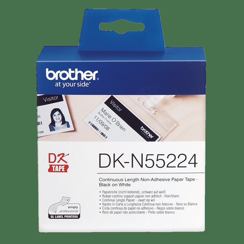 Oryginalna papierowa taśma ciągła DK-N55224 firmy Brother – czarny nadruk na białym tle, 54mm