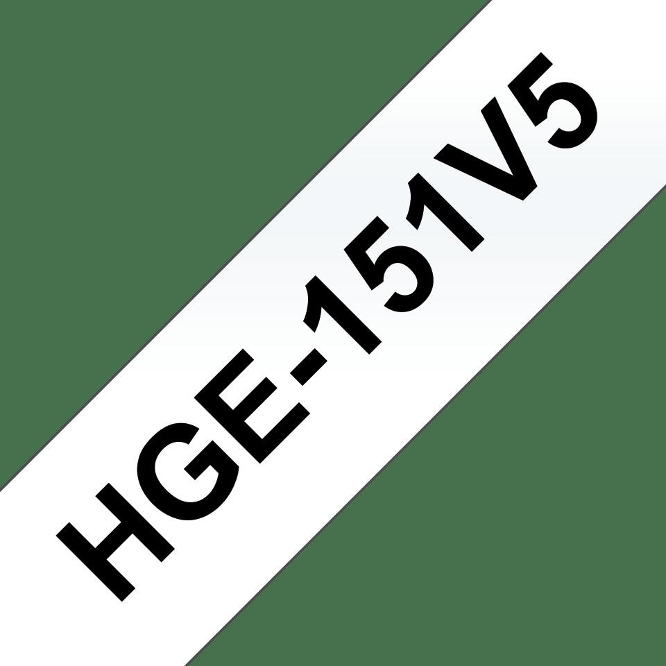 Oryginalne taśmy HGe-151V5 firmy Brother - czarny nadruk na przezroczystym , 24mm szerokości