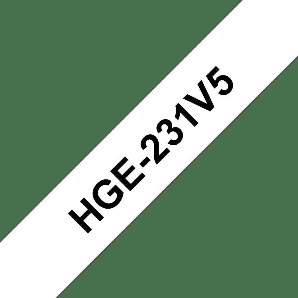 Oryginalne taśmy HGe-231V5 firmy Brother - czarny nadruk na białym tle, 12mm szerokości