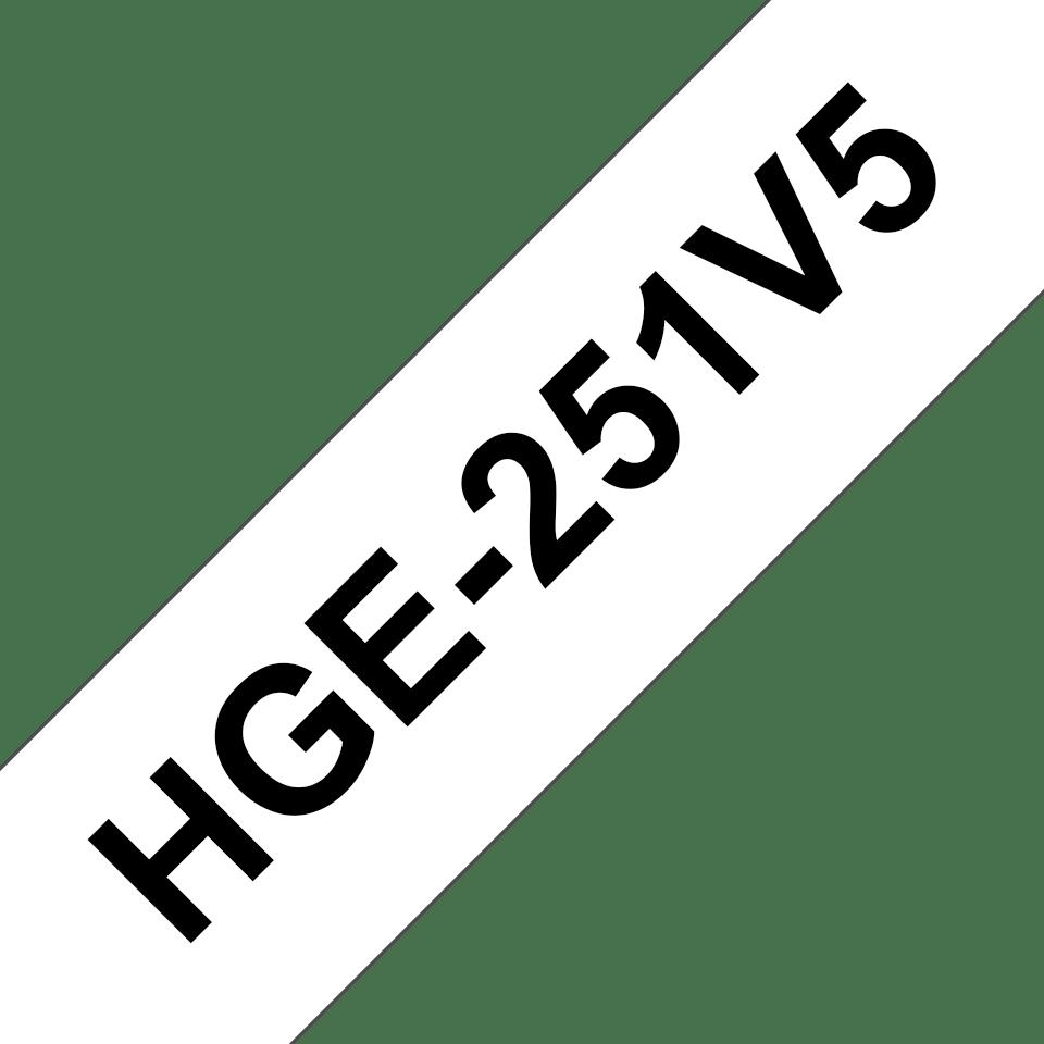 Oryginalne taśmy HGe-251V5 firmy Brother – czarny nadruk na białym tle, 24mm szerokości