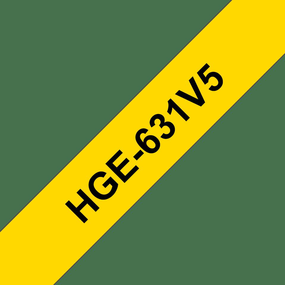 Oryginalne taśmy HGe-631V5 firmy Brother – czarny nadruk na żółtym tle, 12mm szerokości