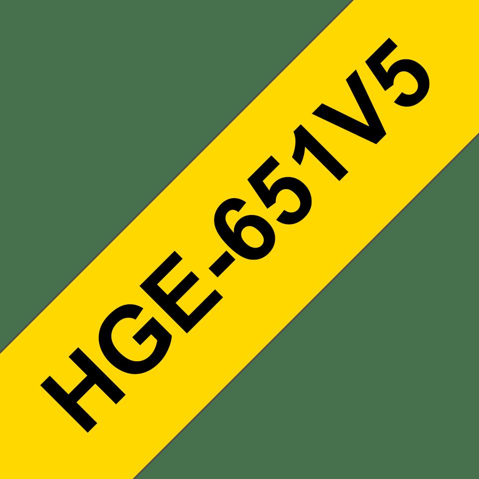 Oryginalne taśmy HGe-651V5 firmy Brother – czarny nadruk na żółtym tle, 24mm szerokości