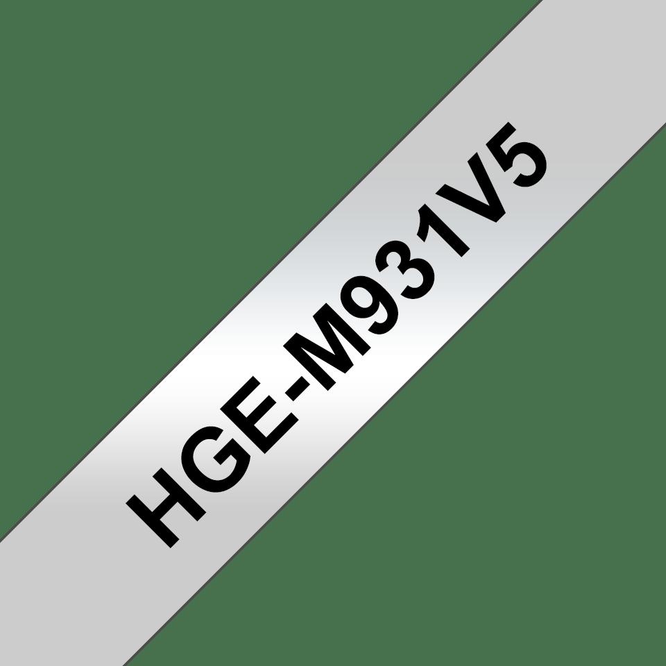 Oryginalne taśmy HGe-M931V5 firmy Brother - czarny nadruk na srebrnym tle o szerokości 12mm