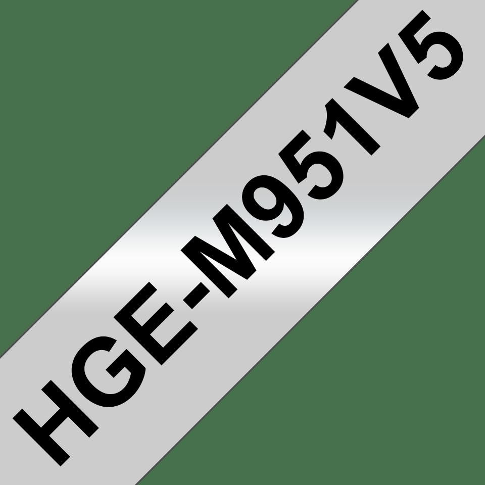 Oryginalne taśmy HGe-M951V5 firmy Brother – czarny nadruk na matowym srebrnym tle, 24mm szerokości