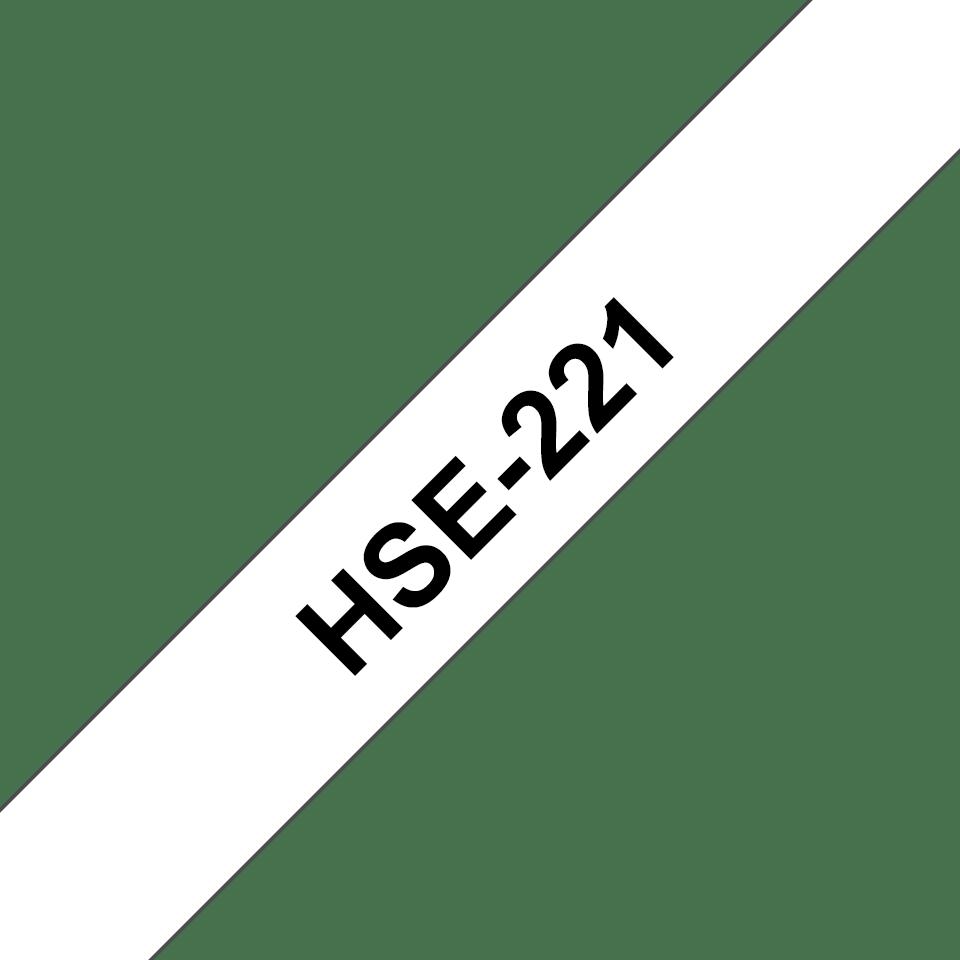 Oryginalna rurka termokurczliwa HSe-221 firmy Brother – czarny nadruk na białym tle, 8.8mm szerokości  3