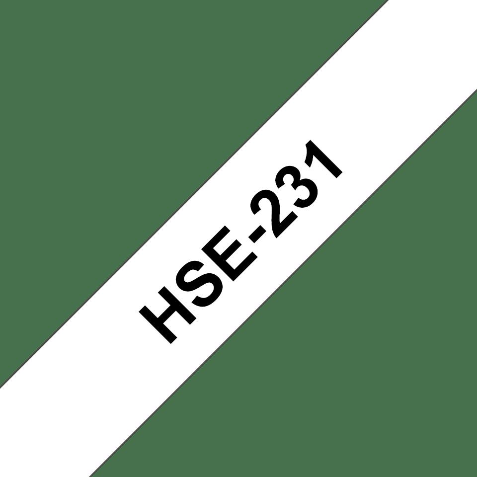 Oryginalna rurka termokurczliwa HSe-231, czarny nadruk na białym tle o szerokości 11.7mm