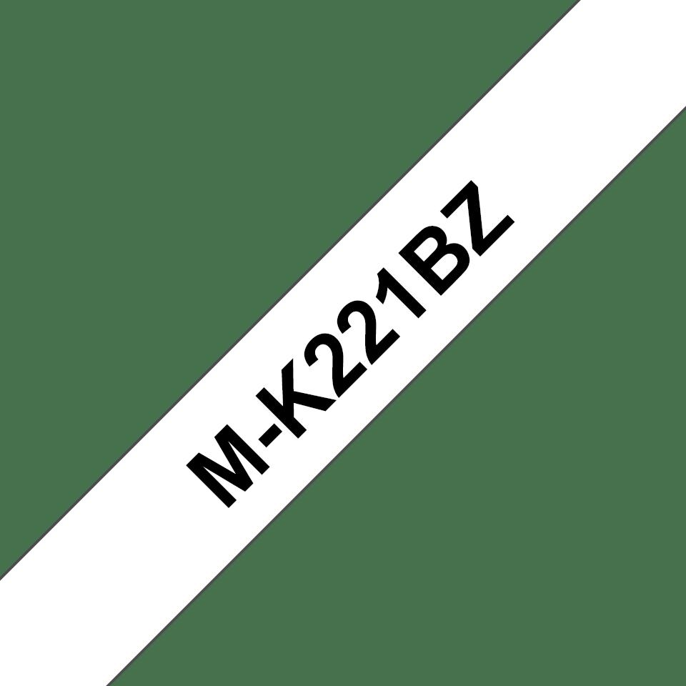 Oryginalna taśma MK-221BZ firmy Brother – czarny nadruk na białym tle, 9mm szerokości