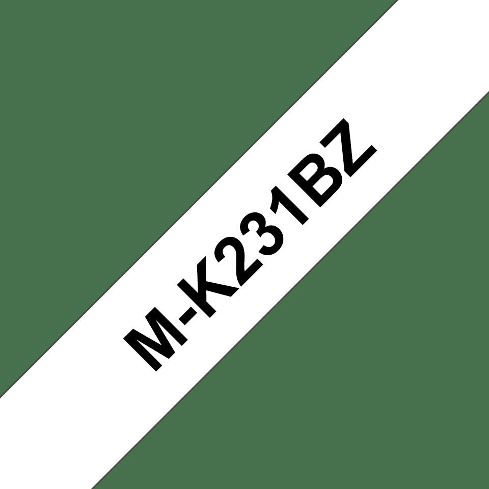 Oryginalna taśma do etykietowania Brother MK-231BZ – czarny nadruk na białym tle, szerokość 12m