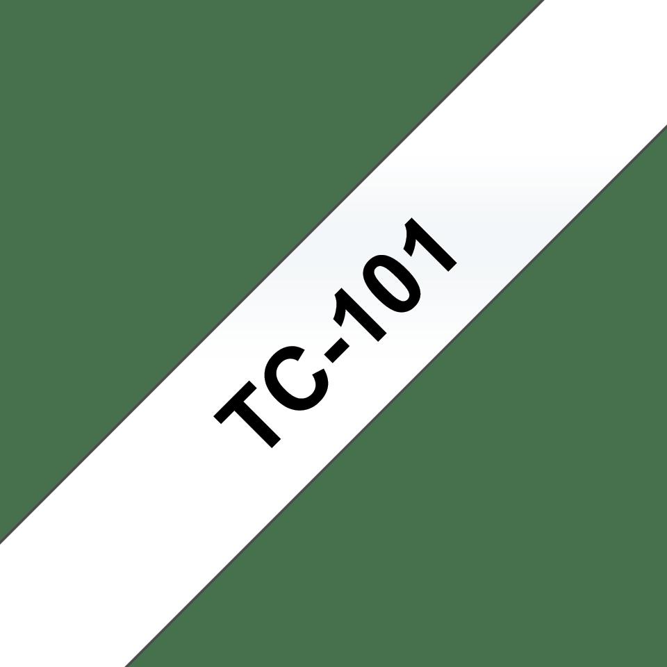 Oryginalna taśma do etykietowania Brother TC-101 – czarny nadruk na przezroczystym tle, szerokość 12mm