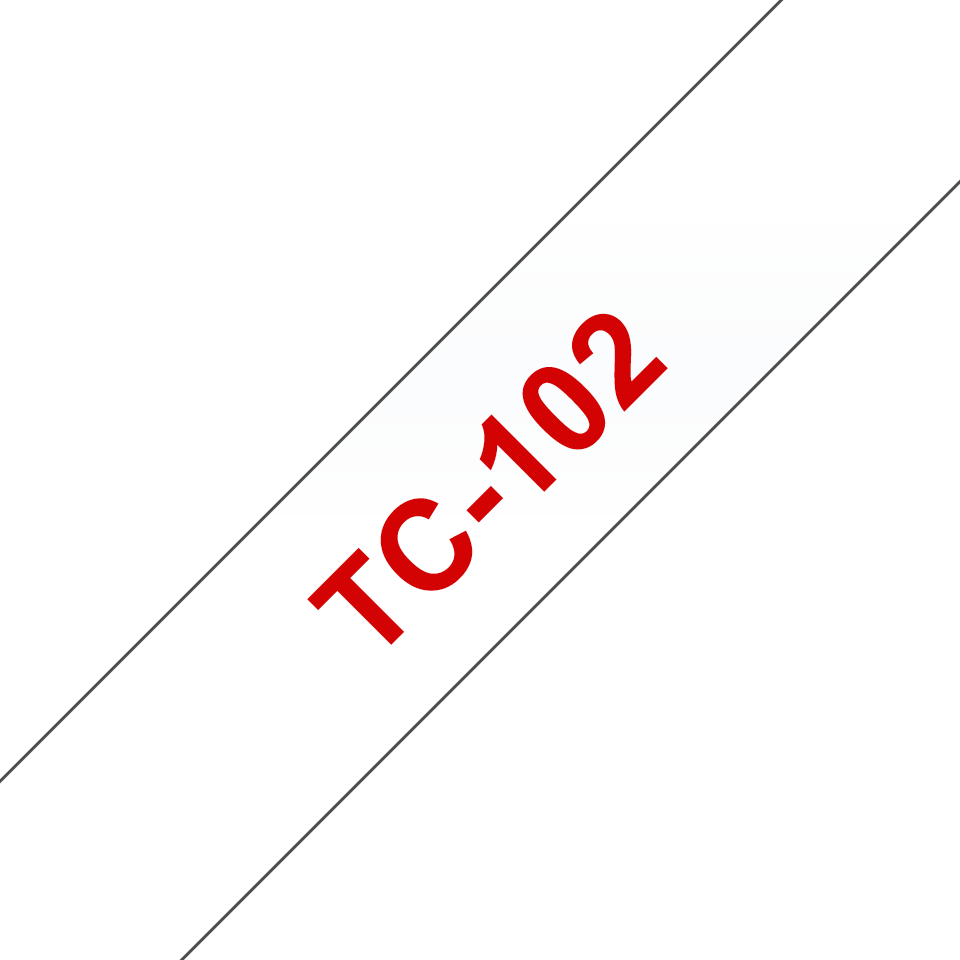 Oryginalna taśma do etykietowania Brother TC-102 – czerwony nadruk na przezroczystym tle, szerokość 12mm