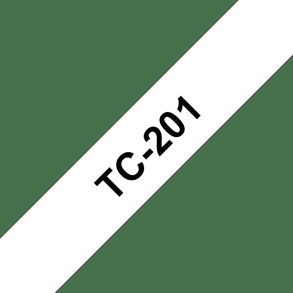 Oryginalna taśma do etykietowania Brother TC-201 – czarny nadruk na białym tle, szerokość 12mm