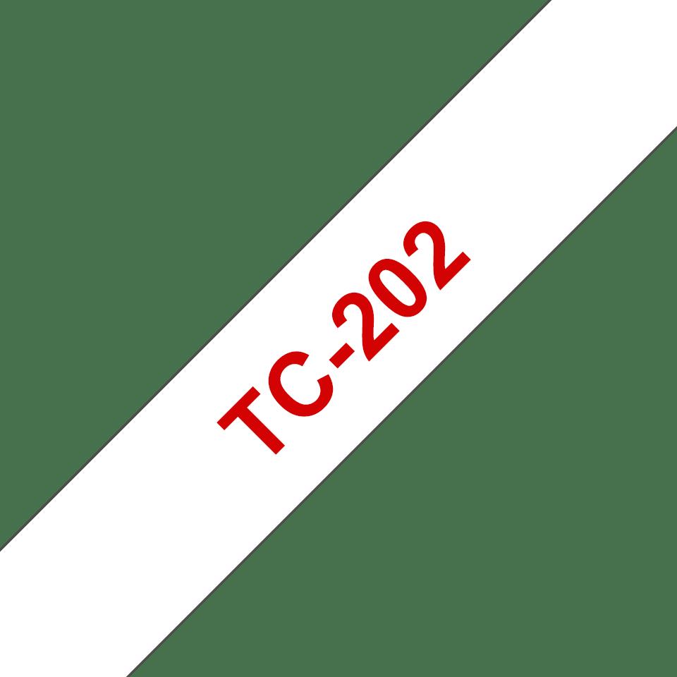 Oryginalna taśma do etykietowania Brother TC-202 – czerwony nadruk na białym tle, szerokość 12mm