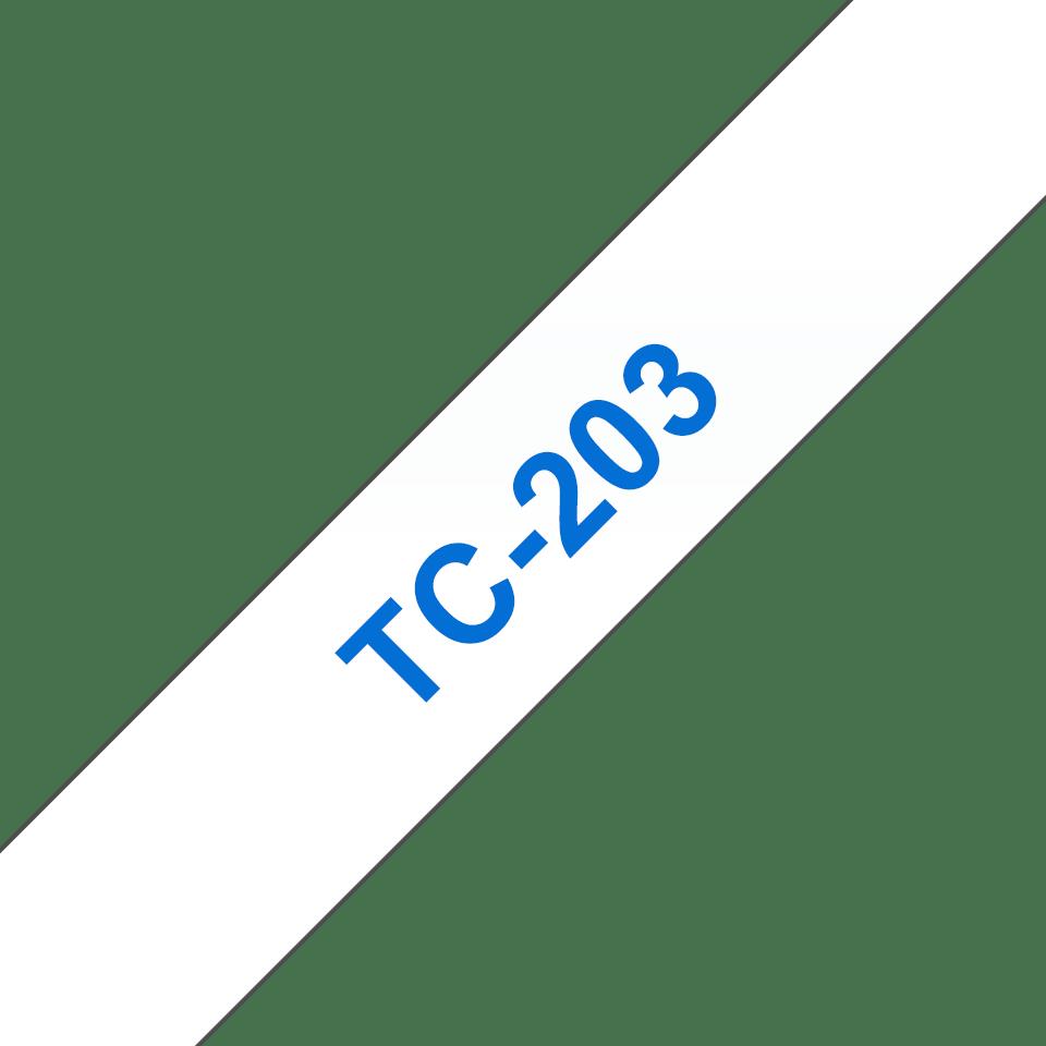 Oryginalna taśma do etykietowania Brother TC-203 – niebieski nadruk na białym tle, szerokość 12mm