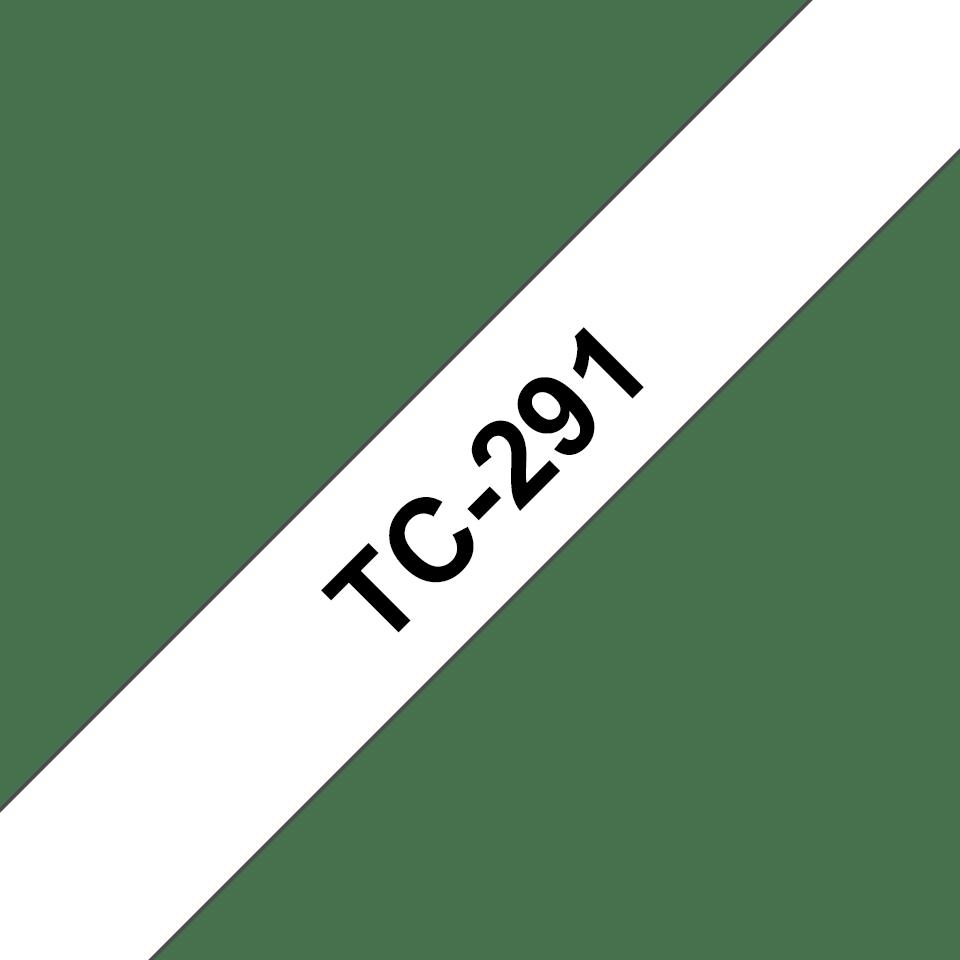 Oryginalna taśma do etykietowania Brother TC-291 – czarny nadruk na białym tle, szerokość 9mm