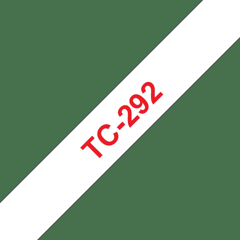 Oryginalna taśma do etykietowania Brother TC-292 – czerwony nadruk na białym tle, szerokość 9mm