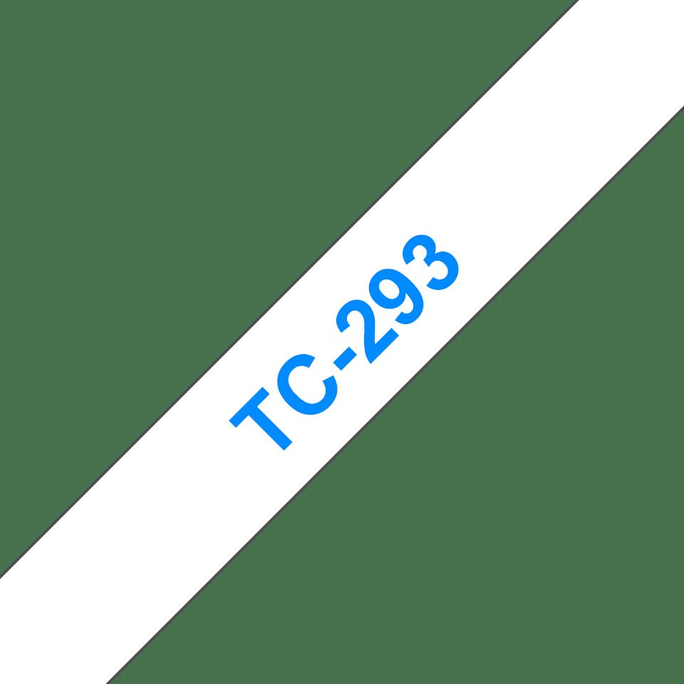 Oryginalna taśma do etykietowania Brother TC-293 – niebieski nadruk na białym tle, szerokość 9mm