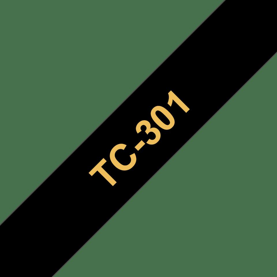 Oryginalna taśma do etykietowania Brother TC-301 – złoty nadruk na czarnym tle, szerokość 12mm