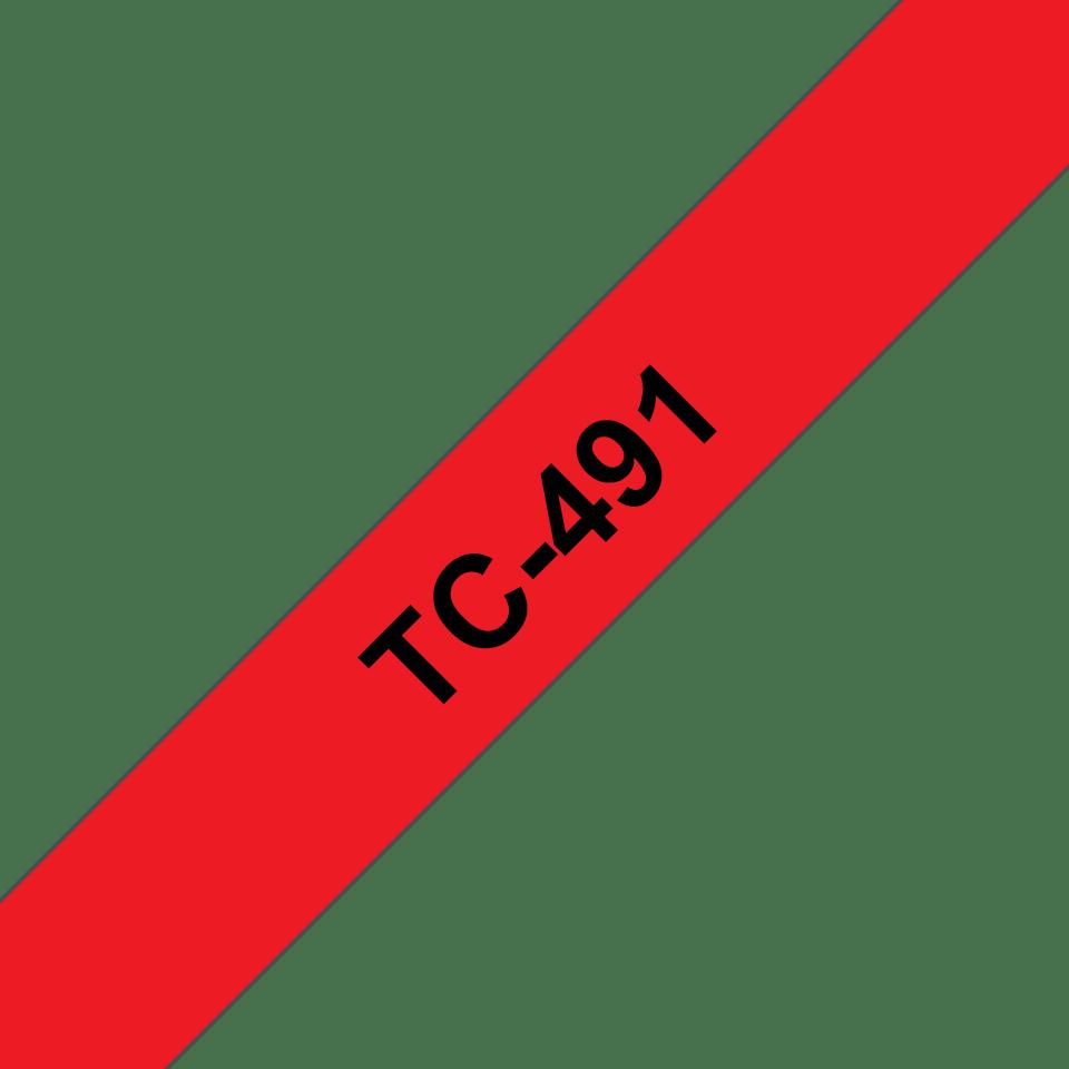 Oryginalna taśma do etykietowania Brother TC-491 – czarny nadruk na czerwonym tle, szerokość 9mm