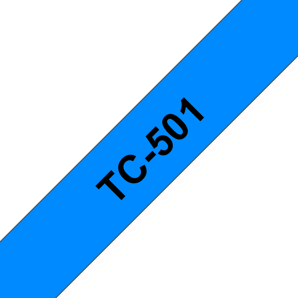 Oryginalna taśma do etykietowania Brother TC-501 – czarny nadruk na niebieskim tle, szerokość 12mm