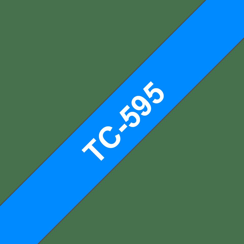 Oryginalna taśma do etykietowania Brother TC-595 – biały nadruk na niebieskim tle, szerokość 9mm