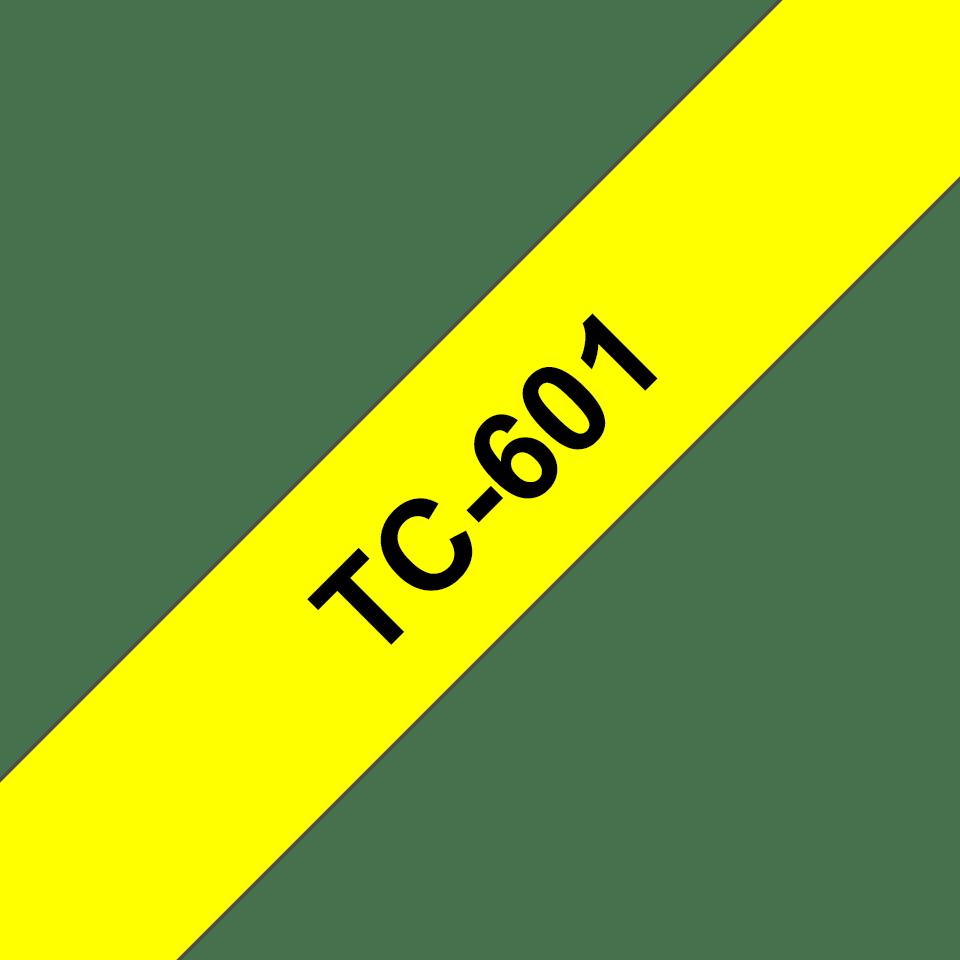 Oryginalna taśma do etykietowania Brother TC-601 – czarny nadruk na żółtym tle, szerokość 12mm
