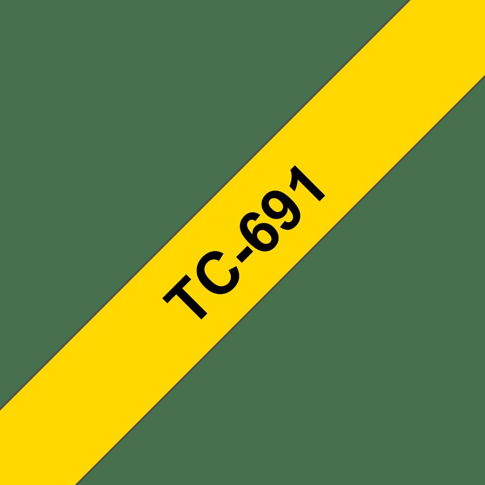 Oryginalna taśma do etykietowania Brother TC-691 – czarny nadruk na żółtym tle, szerokość 9mm
