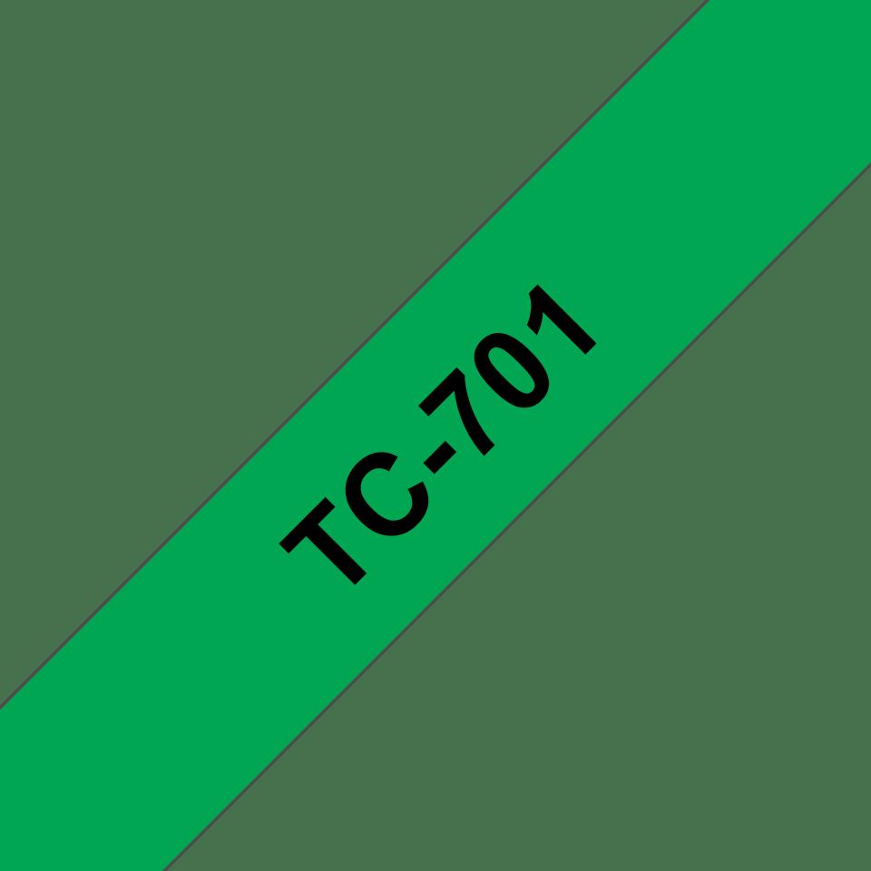 Oryginalna taśma do etykietowania Brother TC-701. Czarny nadruk na zielonym tle, szerokość 12mm