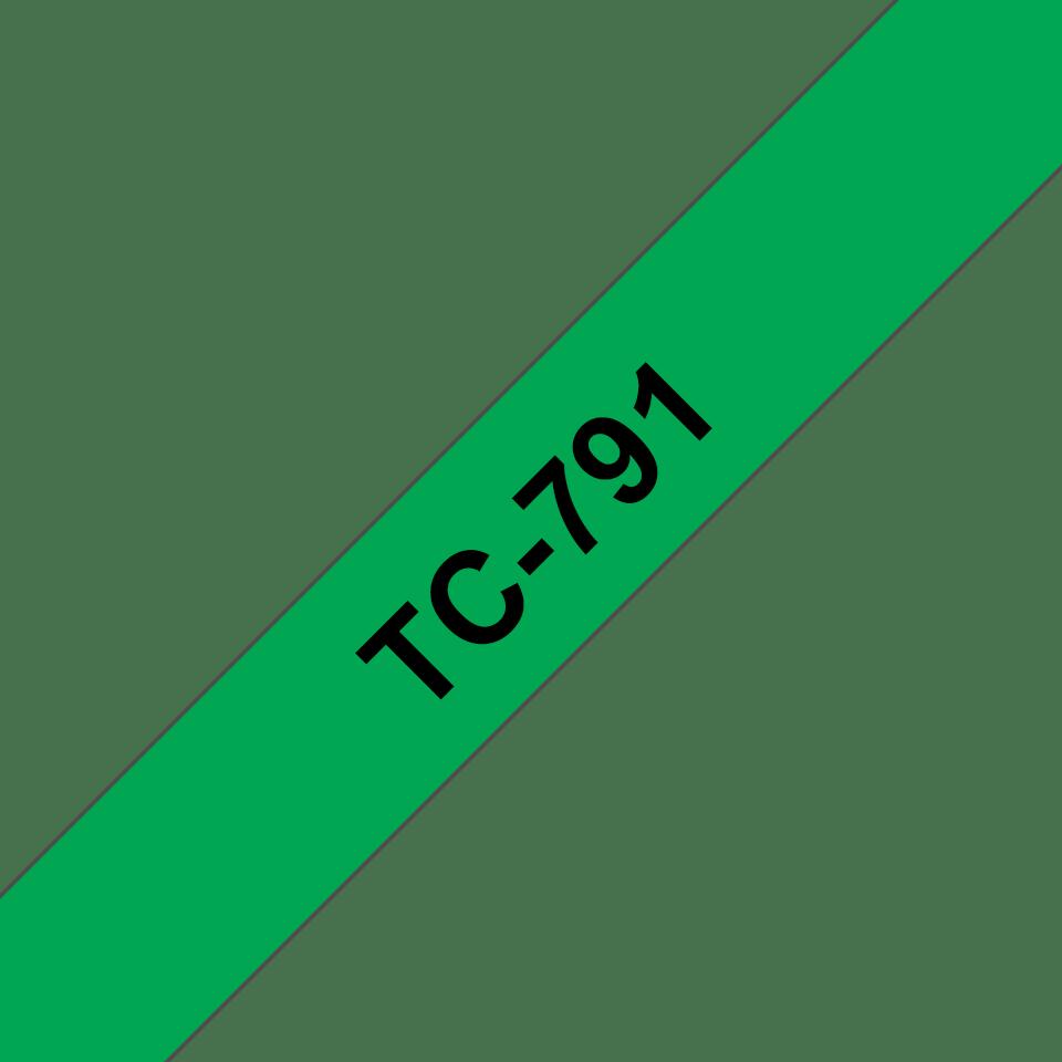 Oryginalna taśma do etykietowania Brother TC-791 – czarny nadruk na zielonym tle, szerokość 9mm
