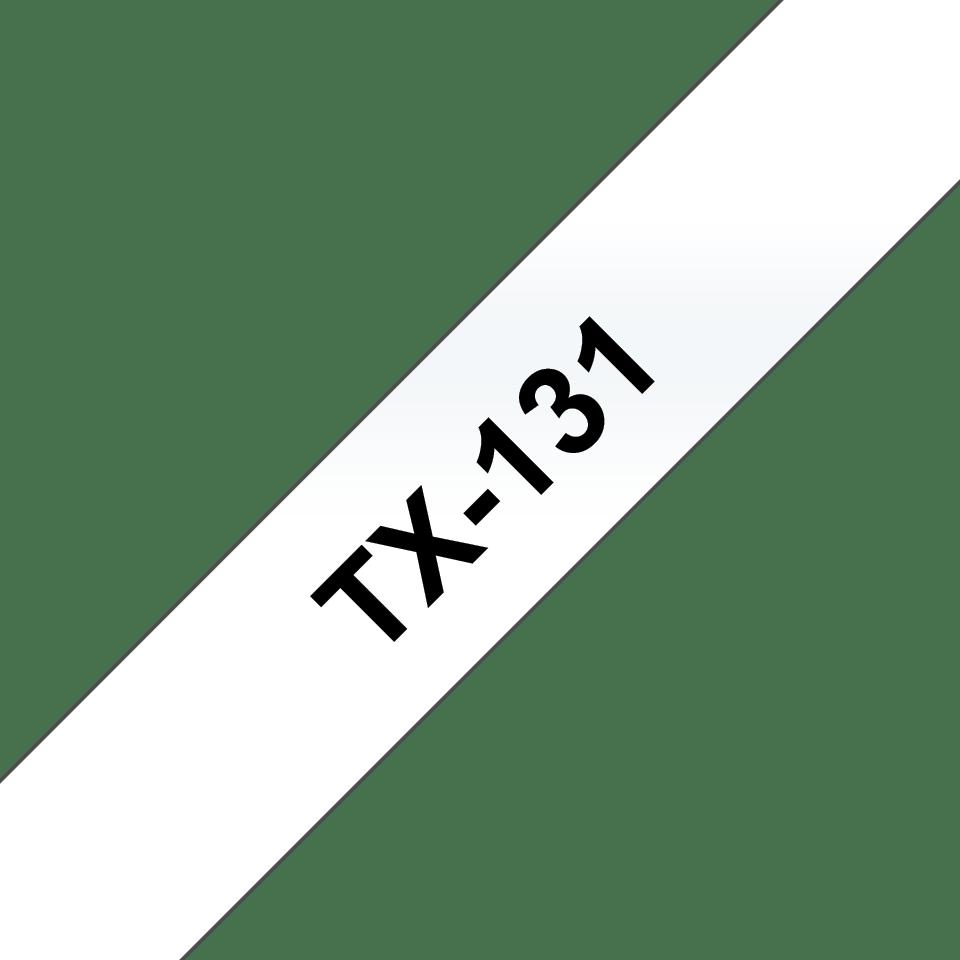 Oryginalna taśma do etykietowania Brother TX-131 – czarny nadruk na przezroczystym tle, szerokość 12mm
