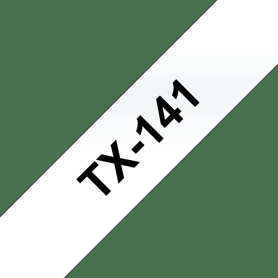 Oryginalna taśma do etykietowania Brother TX-141 – czarny nadruk na przezroczystym tle, szerokość 18mm