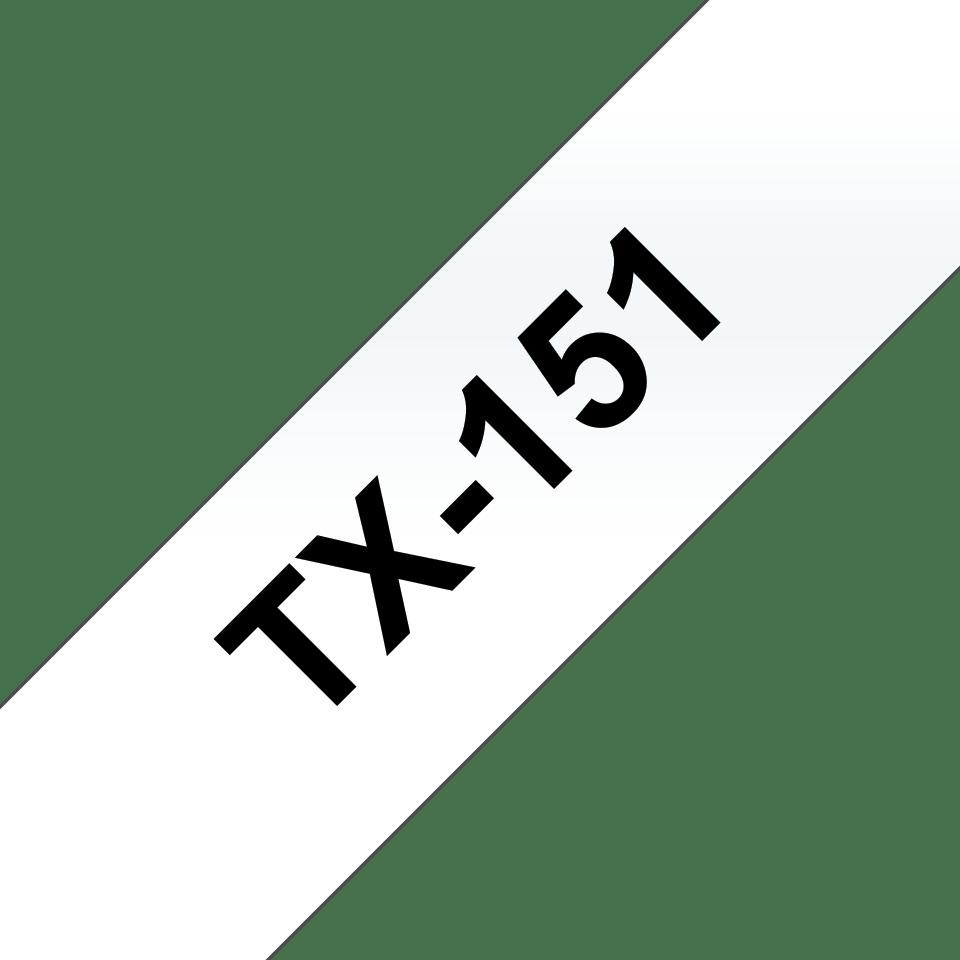 Oryginalna taśma do etykietowania Brother TX-151 – czarny nadruk na przezroczystym tle, szerokość 24mm