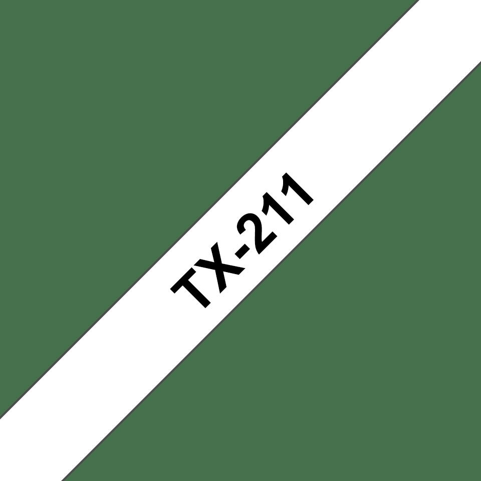 Oryginalna taśma do etykietowania Brother TX-211 – czarny nadruk na białym tle, szerokość 6mm