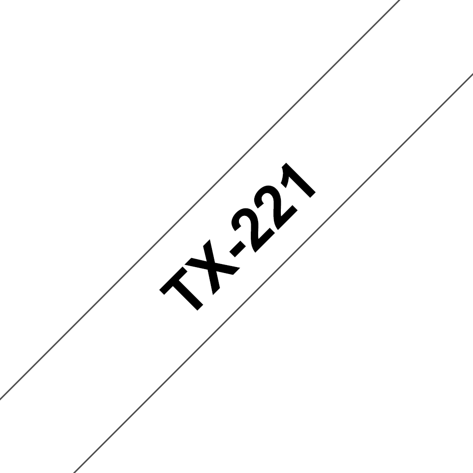 Oryginalna taśma do etykietowania Brother TX-221 – czarny nadruk na białym tle, szerokość 9mm