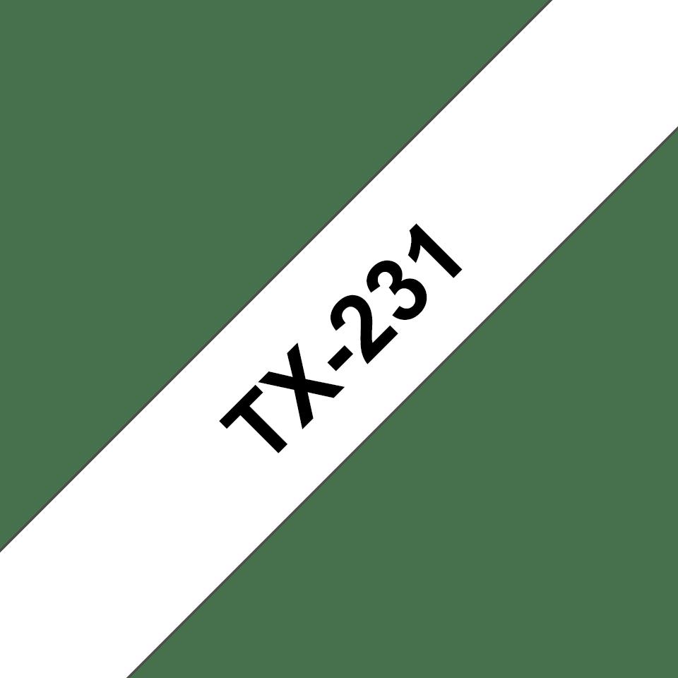 Oryginalna taśma do etykietowania Brother TX-231 – czarny nadruk na białym tle, szerokość 12mm