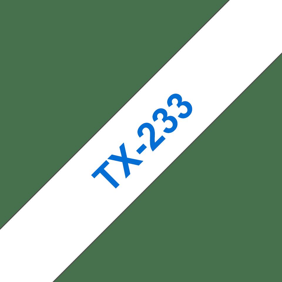 Oryginalna taśma do etykietowania Brother TX-233 – niebieski nadruk na białym tle, szerokość 12mm