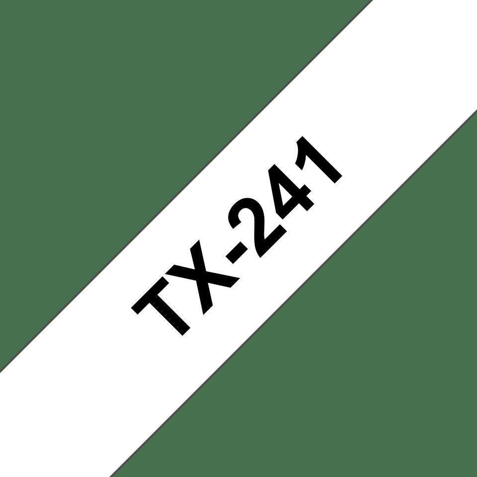 Oryginalna taśma do etykietowania Brother TX-241 – czarny nadruk na białym tle, szerokość 18mm