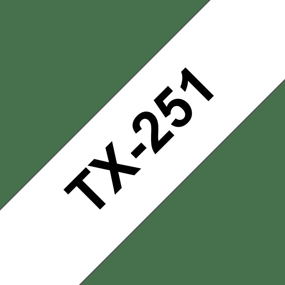 Oryginalna laminowana taśma TX-251 firmy Brother. Czarny nadruk na białym błyszczącym tle - 24mm szerokości