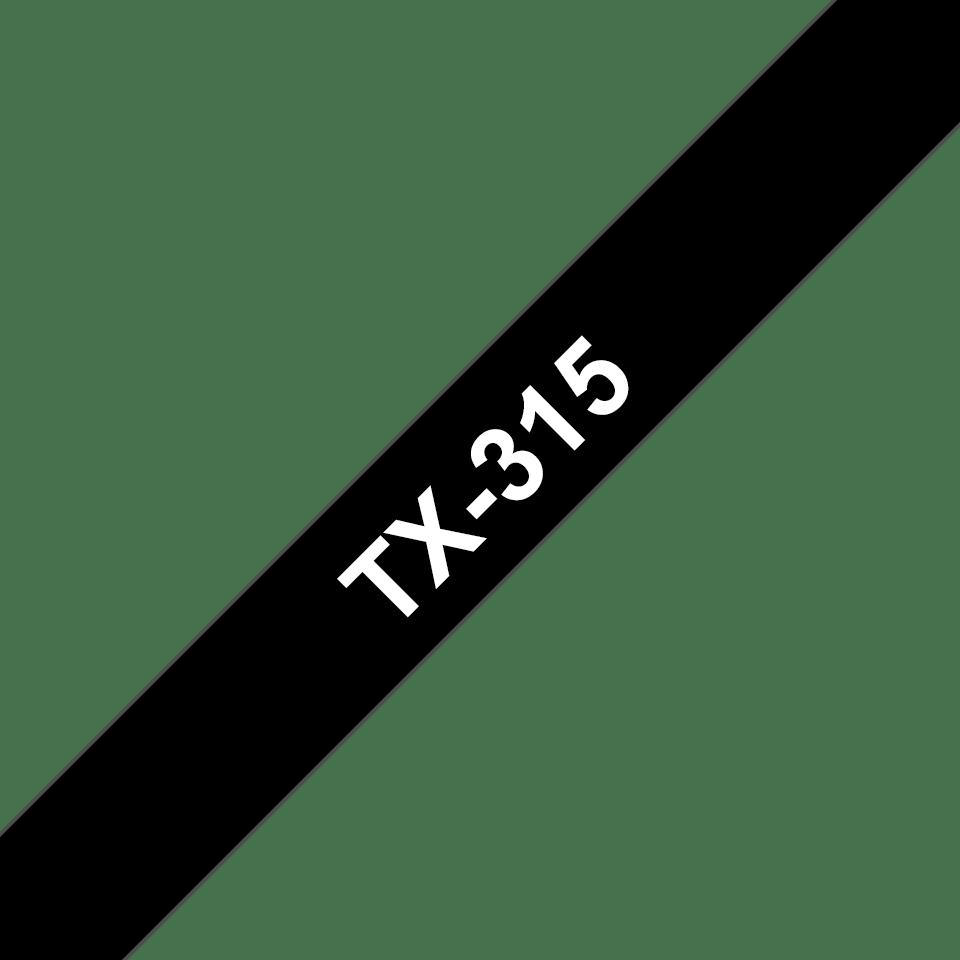 Oryginalna taśma do etykietowania Brother TX-315 – biały nadruk na czarnym tle, szerokość 6mm