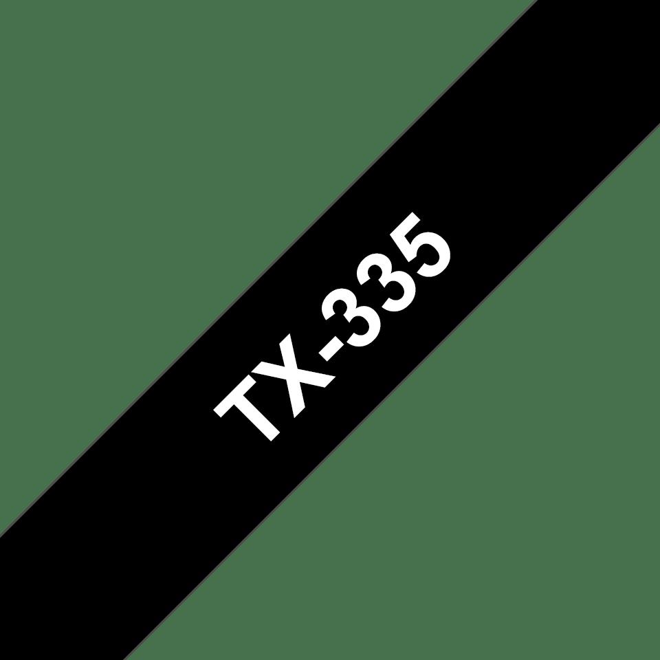Oryginalna taśma do etykietowania Brother TX-335 – biały nadruk na czarnym tle, szerokość 12mm