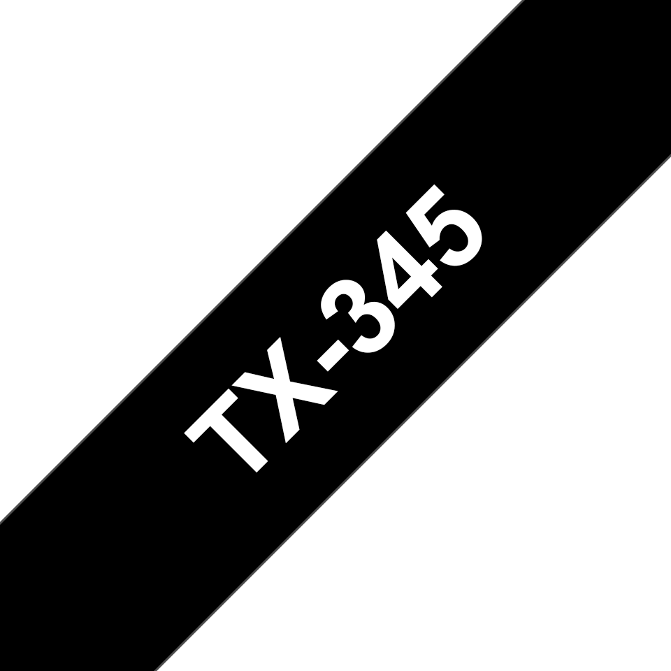 Genuine Brother TX-345 Labelling Tape Cassette – White on Black, 18mm wide