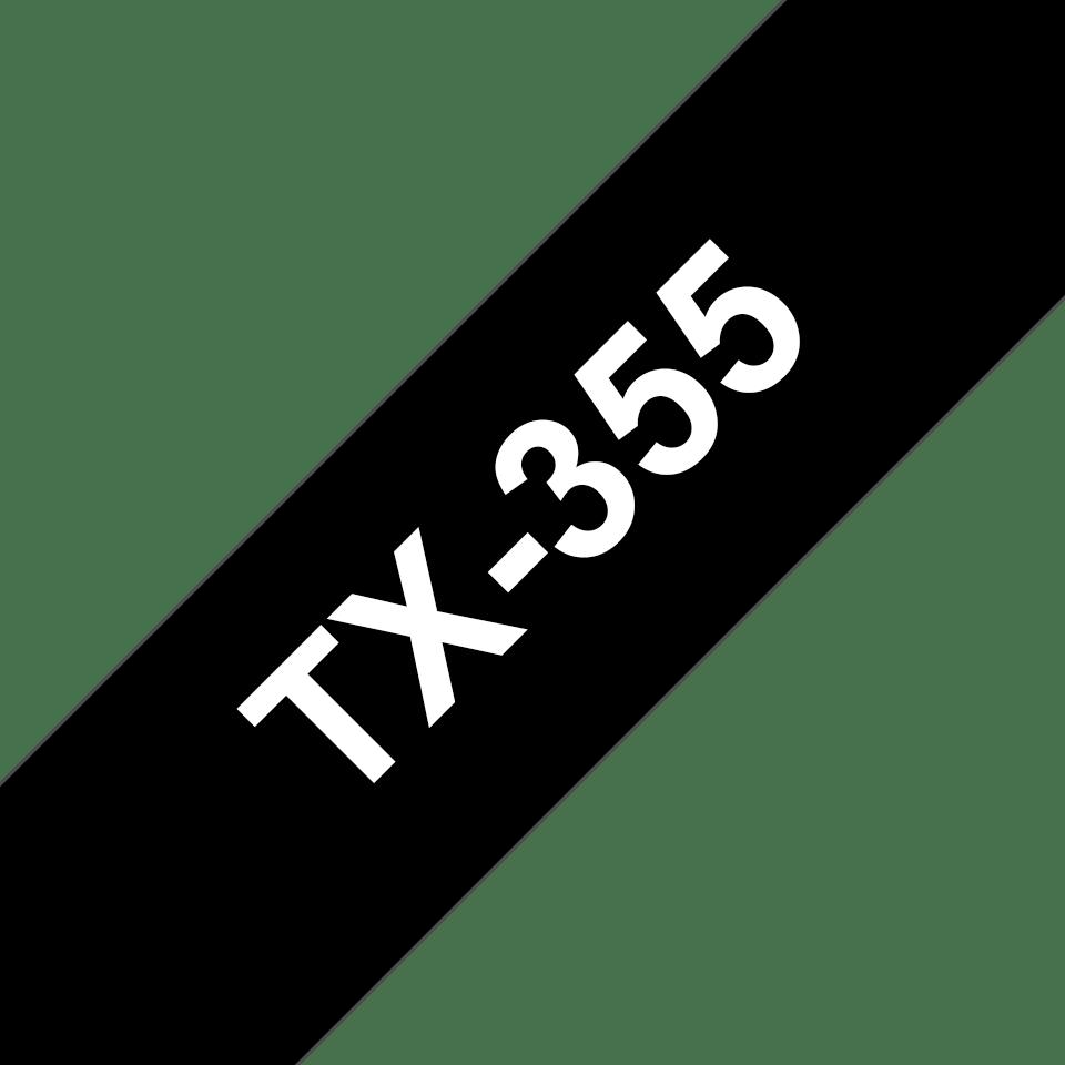 Oryginalna taśma do etykietowania Brother TX-355 – biały nadruk na czarnym tle, szerokość 24mm