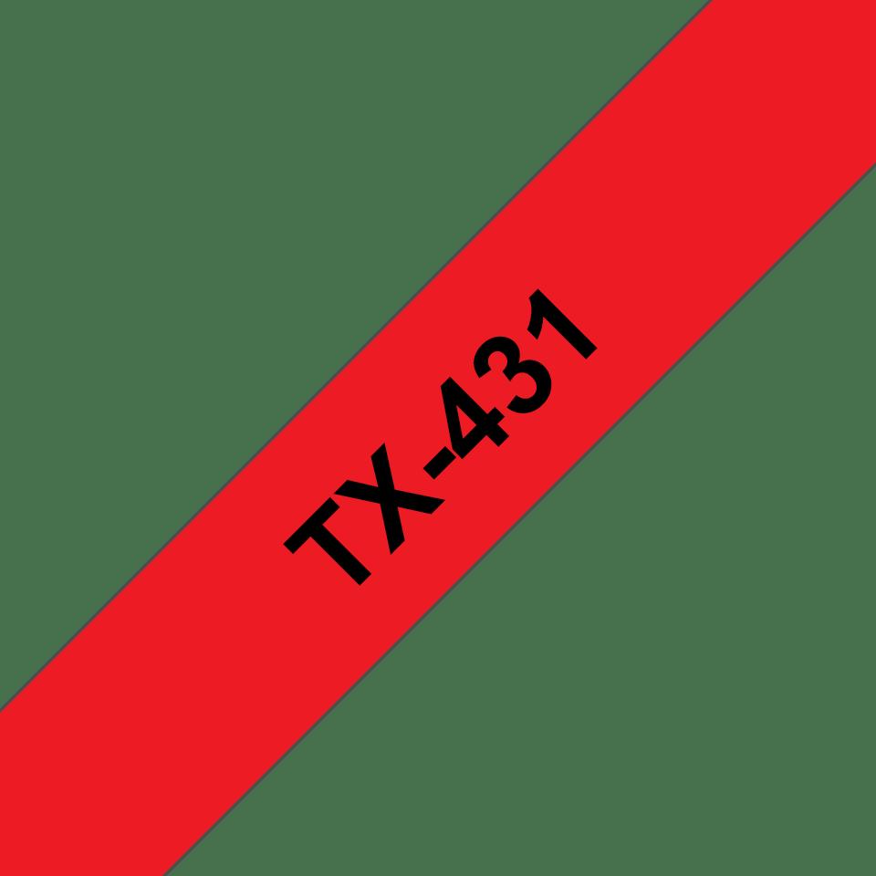 Oryginalna taśma do etykietowania Brother TX-431 – czarny nadruk na czerwonym tle, szerokość 12mm