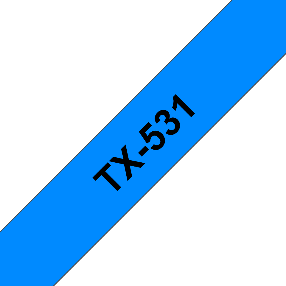 Genuine Brother TX-531 Labelling Tape Cassette – Black on Blue, 12mm wide