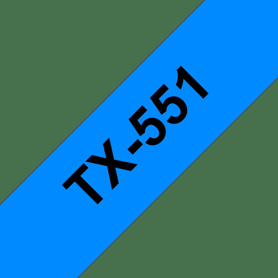 Oryginalna taśma do etykietowania Brother TX-551 – czarny nadruk na niebieskim tle, szerokość 24mm