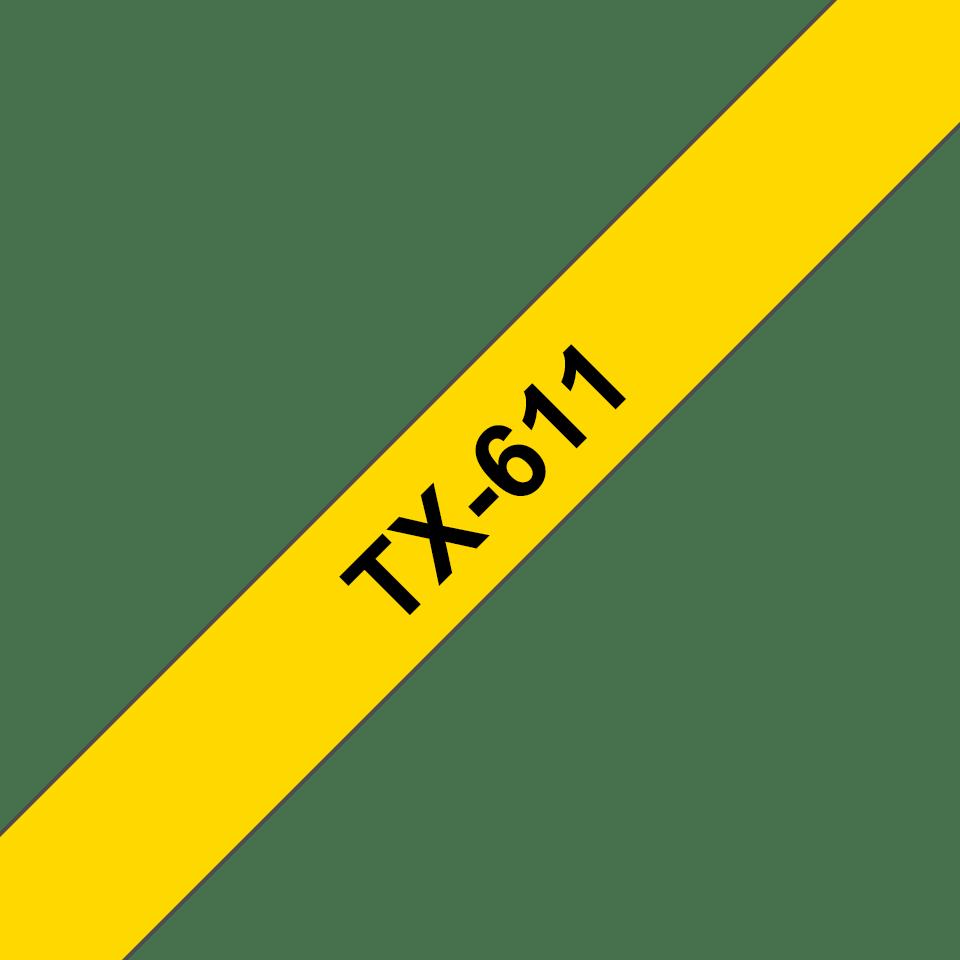 Oryginalna taśma do etykietowania TX-611 – czarny nadruk na żółtym tle, szerokość 6mm