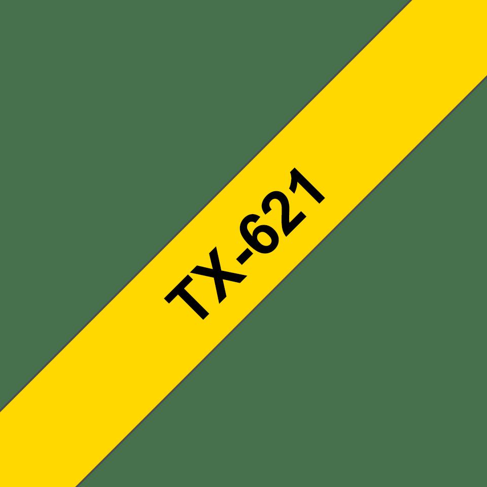 Oryginalna taśma do etykietowania Brother TX-621 – czarny nadruk na żółtym tle, szerokość 9mm
