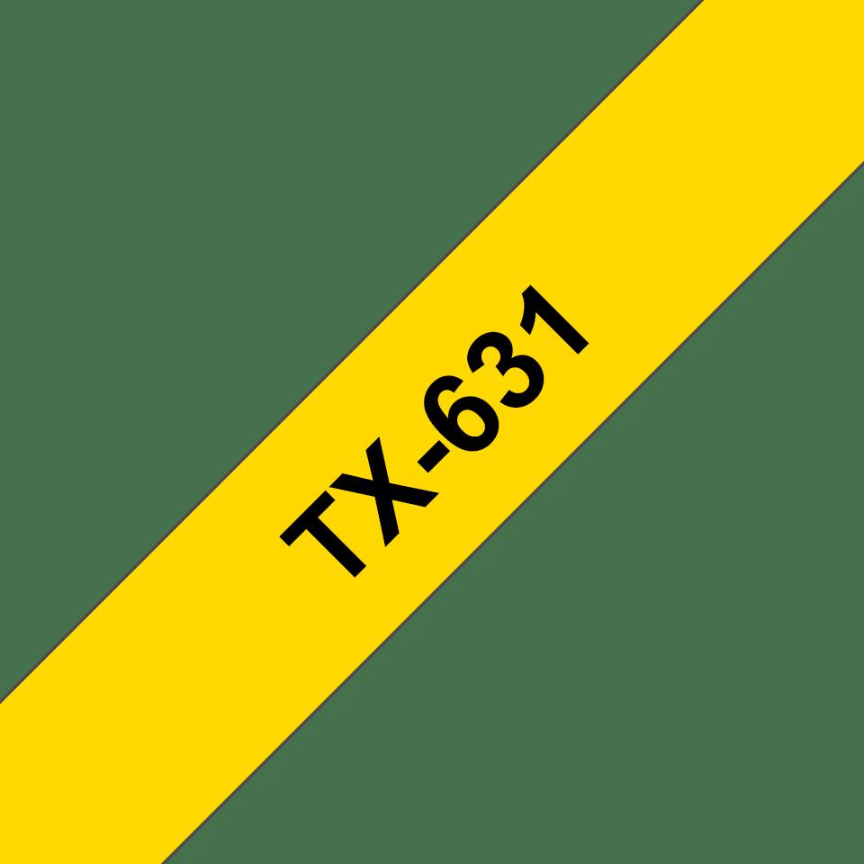 Oryginalna taśma do etykietowania TX-631 – czarny nadruk na żółtym tle, szerokość 12mm