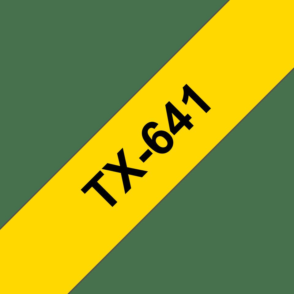 Oryginalna taśma do etykietowania Brother TX-641 – czarny nadruk na żółtym tle, szerokość 18mm