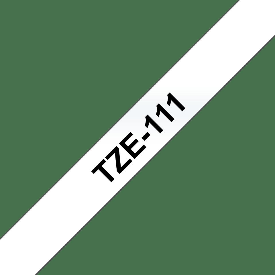 Oryginalna taśma do etykietowania Brother Tze-111 – czarny nadruk na przezroczystym tle, szerokość 6mm